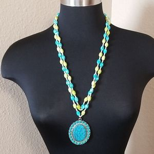 Jewelry - Beaded Turquoise Green Double Strand Necklace